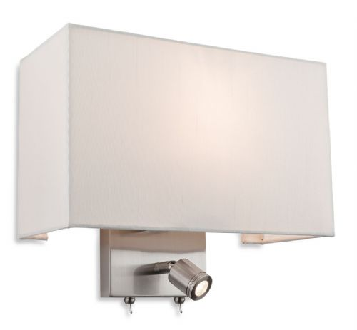 Fargo 2 Light Wall (Switched), Brushed Steel with Cream Shade, 4942BS